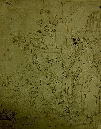Attribué à Jan van LINTELOO Actif vers 1620 HISTOIRE DE TOBIE Plume et encre brune