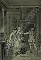 Reinier VINKELES (Amsterdam, 1741 - 1816)) SCENE DE THEÂTRE Plume et encres brune et noire, lavis gris, Reinier Vinkeles, Click for value