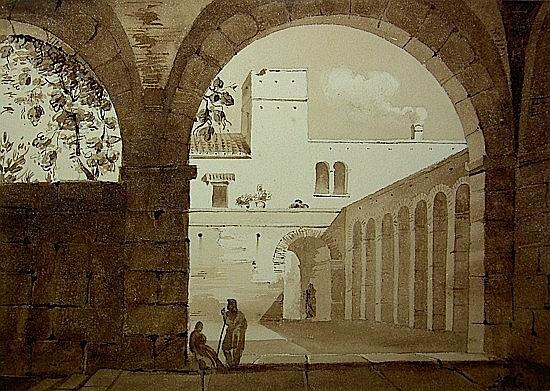 Attribué à Auguste GLAIZE (Montpellier 1807 - Paris 1893) VUE L'INTERIEUR D'UNE COUR Plu...