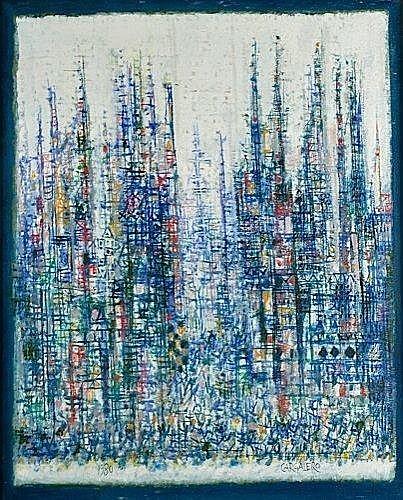 Manuel CARGALEIRO (Né en 1927) LA MEDINA, 1980 Huile sur toile