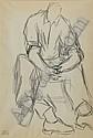 Syed SADEQUAIN (1937-1987) PERSONNAGE ASSIS Dessin au fusain sur papier