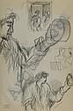 Syed SADEQUAIN (1937-1987) PERSONNAGE Dessin au fusain sur papier