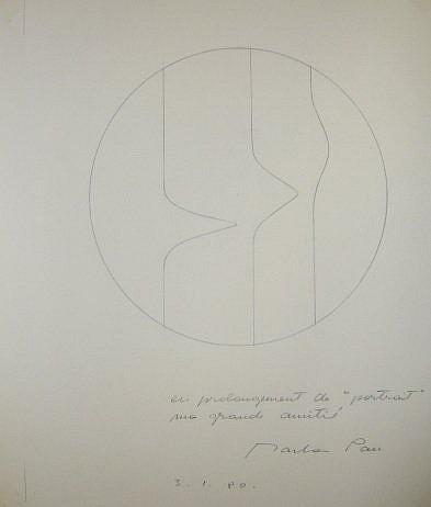 Marta Pan (Née en 1923) PORTRAIT, 1980 Dessin au crayon sur papier calque