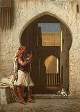 Emile-Etienne ESBENS (Bordeaux, 1821 - ?) Le gardien Huile sur panneau