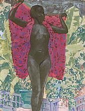 Jacques MAJORELLE (Nancy, 1886 - Paris, 1962) Nu dans les jardins Majorelle