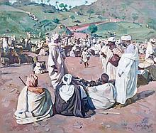 Jacques MAJORELLE (Nancy, 1886 - Paris, 1962) Le souk aux moutons