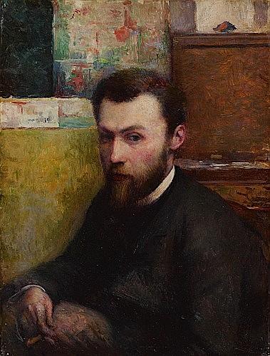 Charles MAURIN (1856-1914) PORTRAIT DE GEORGES SEURAT, CIRCA 1885-1890 Huile sur toile