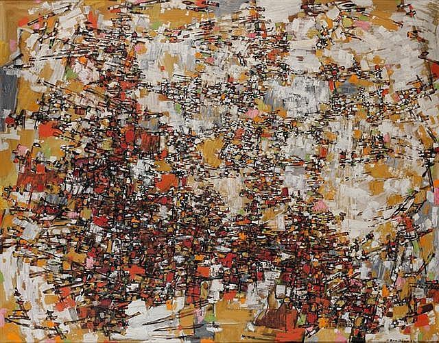 Natalia DUMITRESCO (1915-1997) COMPOSITION, 1957 Huile sur toile