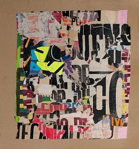 Arthur AESCHBACHER (Né en 1923) ECHAPPER D'UN MUR, 1963 Arrachage d'affiches lacérées sur carton marouflé sur panneau d'isorel
