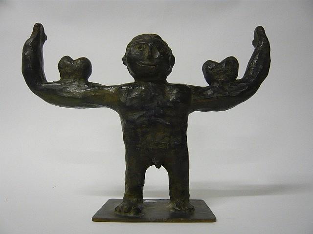 Philippe BERRY (né en 1956) L'HOMME FORT EN AMOUR, 1994 Bronze à patine vert brun