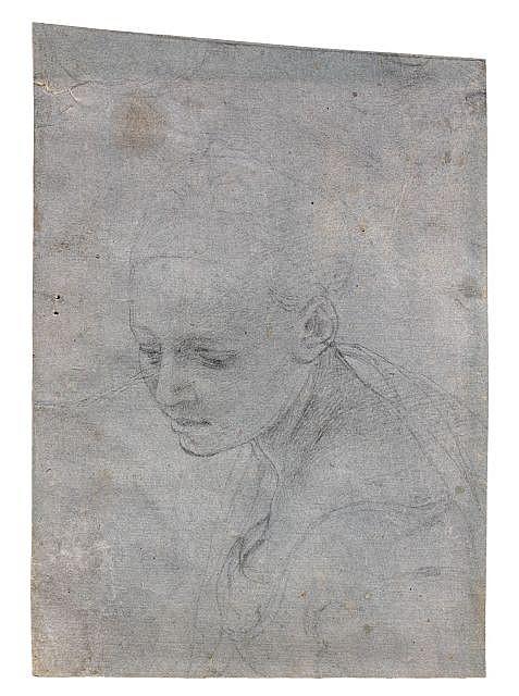 Attribué à Agnolo di Cosimo, dit il Bronzino Florence, 1503 - 1572 Etude de tête de femme Crayon noir sur papier préparé en gris ble...