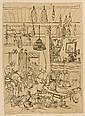 Rodolphe Bresdin Le Fresne-sur-Loire, 1822 - Sèvres, 1885 La veillée dans un intérieur moldave Plume et encre noire, sur papier calq...
