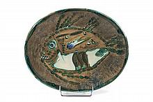 Pablo PICASSO (1881 - 1973) POISSON CHINE - 1952 (A.R. # 170 - G.B. # 29) Plat ovale