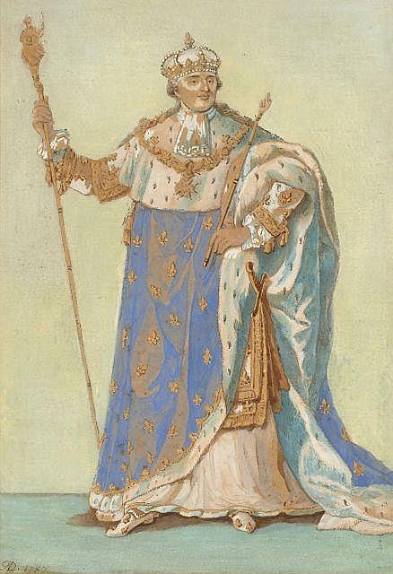 Anatole Devosge Dijon, 1770 - 1850 Louis XVI en costume de sacre Aquarelle et rehauts de gouache,