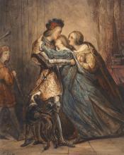 Ary Scheffer Dordrecht, 1795 - Argenteuil, 1858 Le départ du chevalier Aquarelle