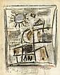 Roger BISSIERE (Villeréal,1886-1964) SANS TITRE Fusain et gouache sur papier portant des annotations à l'encre