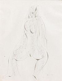 Jean FAUTRIER (1898-1964) NU Dessin à l'encre et fusain sur papier