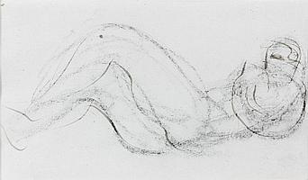 Jean FAUTRIER (1898-1964) NU ALLONGE Dessin à l'encre et fusain sur papier