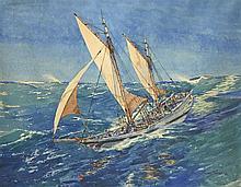 Albert SEBILLE (1874-1953), peintre officel de la Marine  Voilier par gros temps