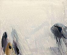 Olivier DEBRE (1920 - 1999) BLANC-GRIS DE BALTIQUE AUX TACHES FONCEES - 1985 Huile sur toile