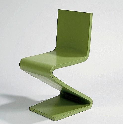 Gerrit Thomas RIETVELD (1888 - 1964) Exceptionnel exemplaire de la chaise Zig - Zag - 1934 Bois multiplis