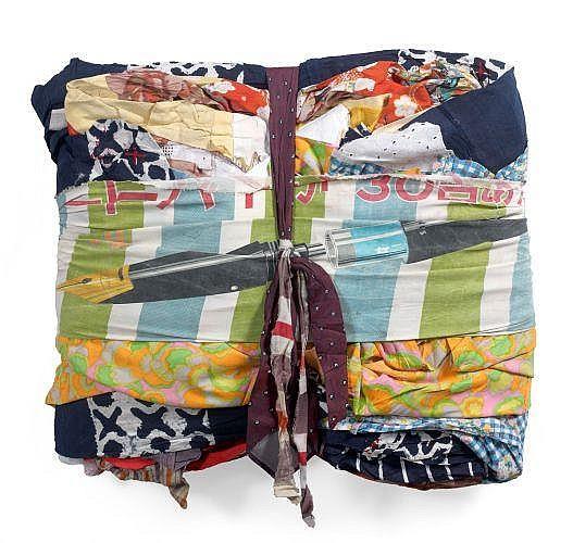 Gérard DESCHAMPS (né en 1937) SANS TITRE, 1961 Assemblage de chiffons japonais et cravates sur châssis
