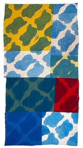 Claude VIALLAT (né en 1936) PATCHWORK, FORMES POLYCHROMES, n°052, 1967 Colorant sur patchwork