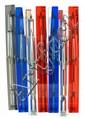 NETTUNO Lot de 7 stylos plumes et feutre, résine transparente : bleue, rouge ou blanche, de forme carrée, plume acier, capuchon av.....
