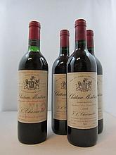 4 bouteilles 1 bt : CHÂTEAU MONTROSE 1970 2è GC Saint Estèphe (légèrement bas, étiquette abimée)