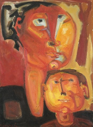 Antonio GUANSE (né en 1926) MERE ET ENFANT, 1958 Huile sur toile