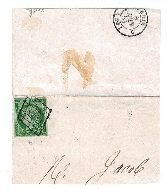 France - Cérès nd - N° 2, 15 c. vert foncé, oblitéré grille, sur fragment. T.B.