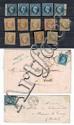 France - Napoléon nd - N° 13, 10 c. bistre et n° 14, 20 c. noir : ensemble d'exemplaires de nuances différentes dont paires, bandes...