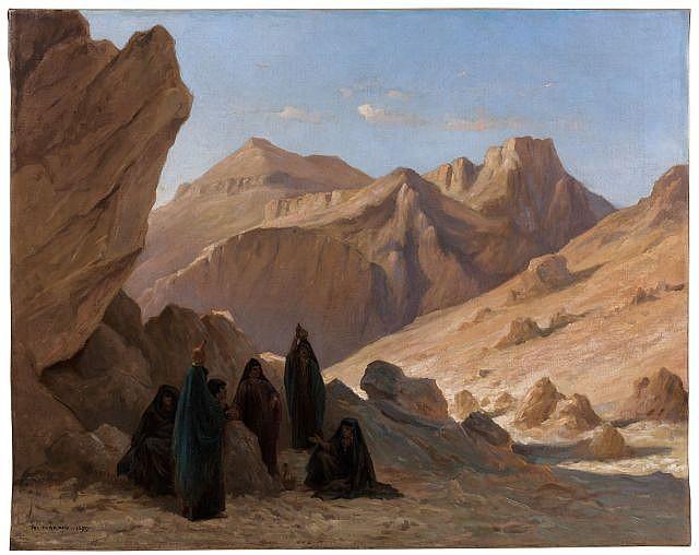 Paul-Louis CHARDIN (Paris, 1833 - 1917) La Halte, Palestine