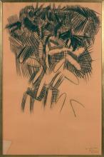 Olivier DEBRÉ (1920 - 1999) SANS TITRE - Circa 1955 Fusain et collage sur papier