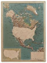 Erik DIETMAN (1937 - 2002) CARTE - 1963-66 Morceaux de sparadrap sur carte géographique en plastique