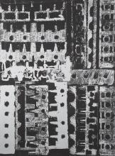 Armand FERNANDEZ dit ARMAN (Français - 1928 - 2005) Culasses Lithographie imprimée argent sur papier noir