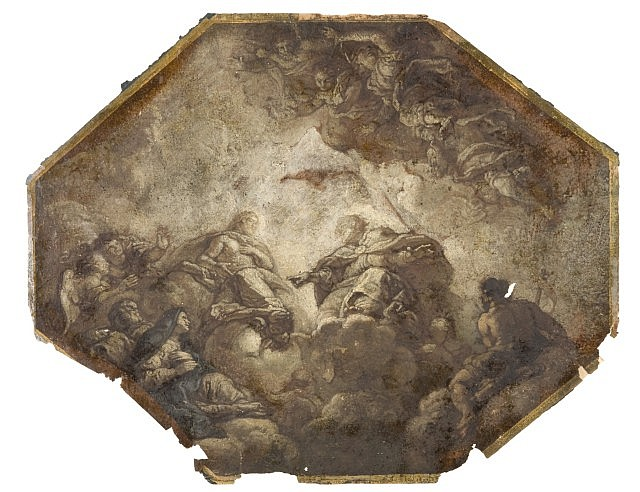 Charles de La Fosse Paris, 1636 - 1716 La Trinité avec sainte Térésa Huile sur papier de format octogonal