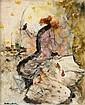 Dudley Hardy Sheffield, 1865 - Londres, 1922 Sarah Bernhardt, la plume à la main Huile sur panneau, Dudley Hardy, Click for value