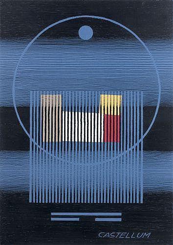 Michel SEUPHOR (1901 - 1999) CASTELLUM Dessin au feutre noir et collage sur papier