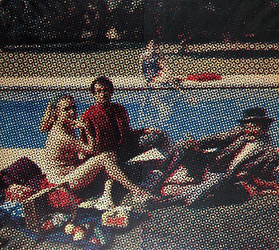 Alain JACQUET (1939-2008) DEJEUNER SUR L'HERBE, 1964 Quadrichromie, cellulosique sur papier marouflé sur toile