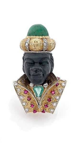 A DIAMOND, RUBY, EMERALD GOLD MOORISH BROOCH, ITALIAN WORK