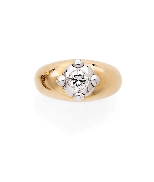 A DIAMOND, YELLOW AND WHITE GOLD RING, BY CHAUMET