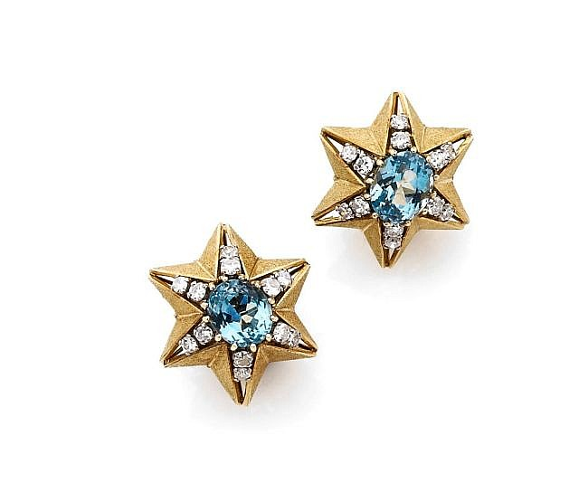 A DIAMOND, TOPAZ AND YELLOW GOLD EARRINGS