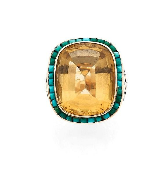 A CITRINE, TURQUOISE AND YELLOW GOLD BROOCH AND RING