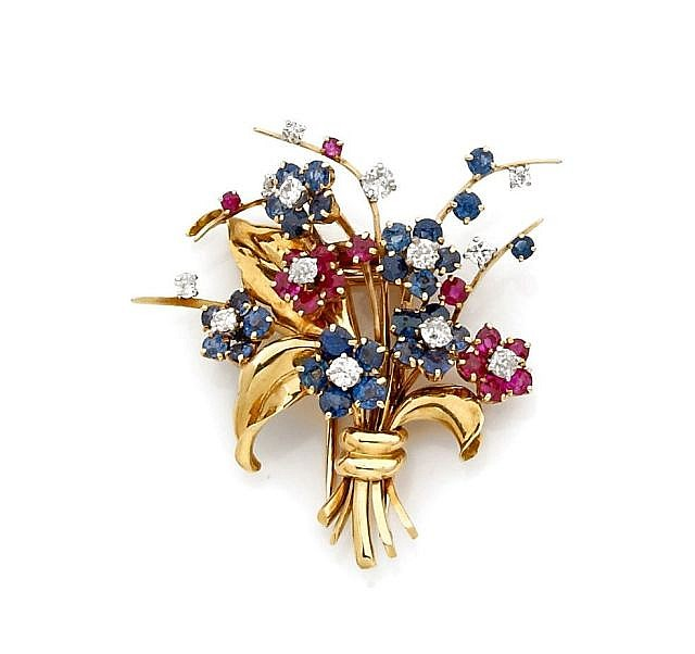 A DIAMOND, SAPPHIRE, RUBY, PLATINUM AND GOLD CLIP BROOCH, BY MAUBOUSSIN