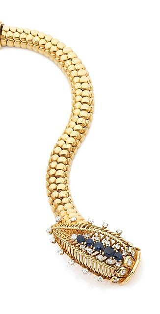 A DIAMOND, SAPPHIRE AND YELLOW GOLD BRACELET, BY MARCHAK
