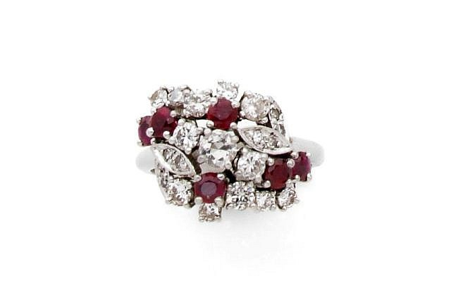 A DIAMOND, RUBY AND PLATINUM RING, BY CHAUMET