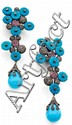 A PAIR OF (TREATED) TURQUOISE, AMETHYST AND DIAMOND EAR PENDANTS