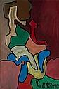 ¤ Gaston CHAISSAC (1910-1964) COMPOSITION AUX FORMES IMBRIQUEES EN DIAGONALE, 1962-63 Huile sur papier kraft marouflé sur toile