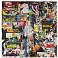JACQUES VILLEGLE (né en 1926) RUE DES LOMBARDS, 5 JUIN 1987 Affiches lacérées marouflées sur toile